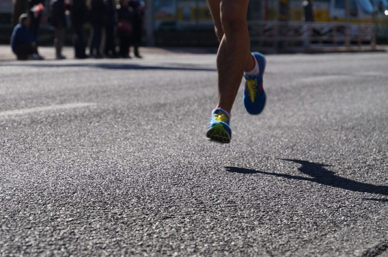 Man runs with shoes
