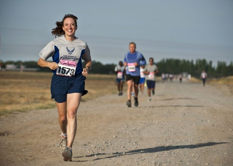 A smiling girl running