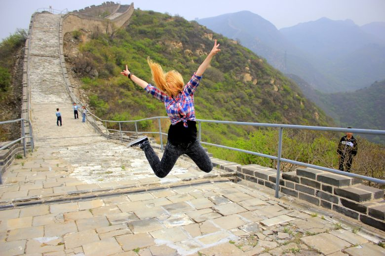 The Great jump at the Great Wall of China