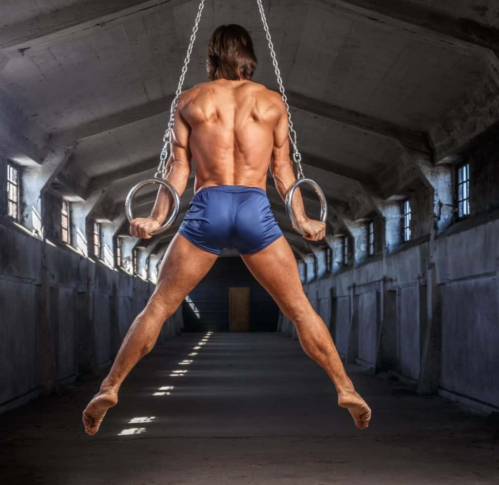Man Workouts With Gymnastic Rings