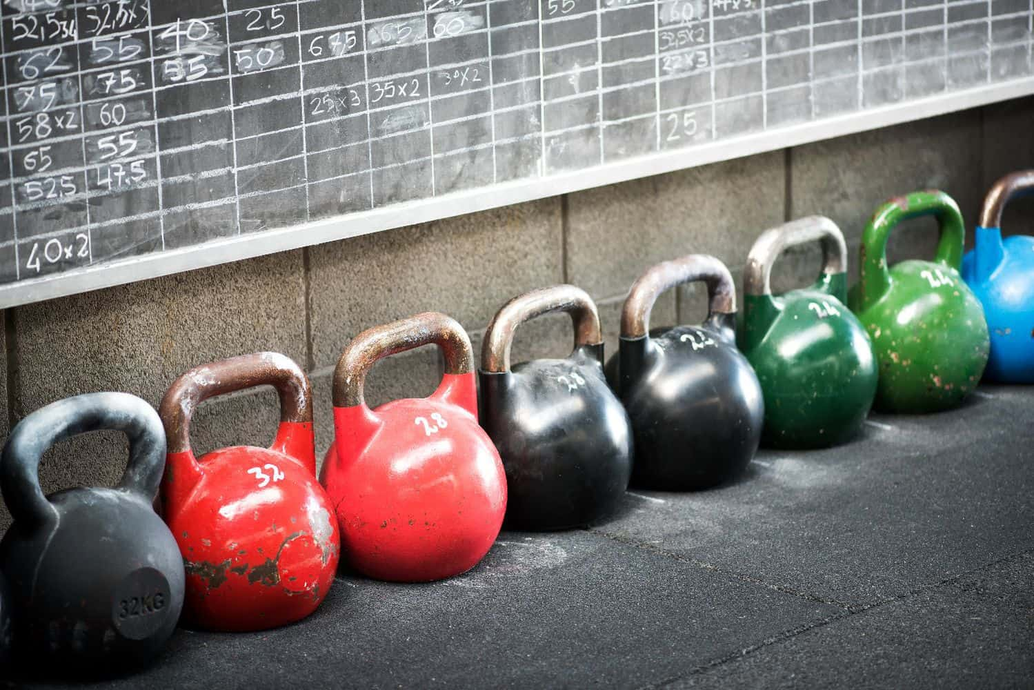 Row Of Colorful Kettlebell Weights In A Gym