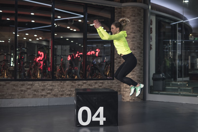 Woman Jumping On The Box 1